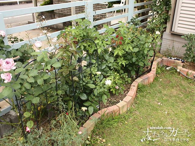 レンガを並べて作った花壇