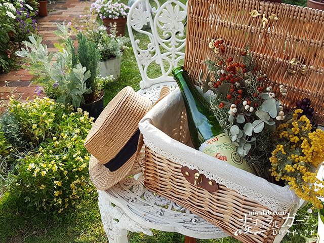 庭のピクニックバスケット