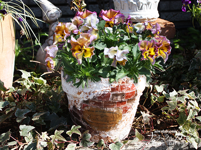 レンガの鉢DIY