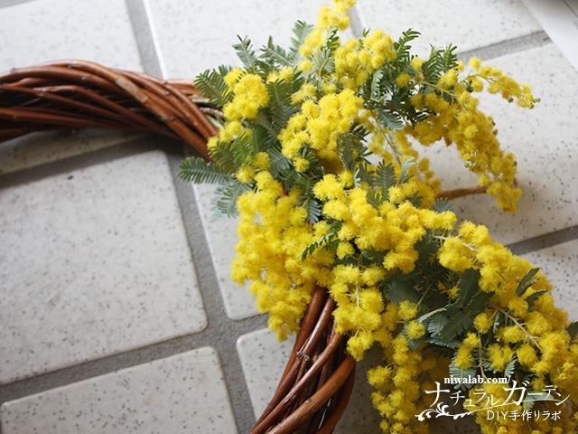 ミモザの花を挿す