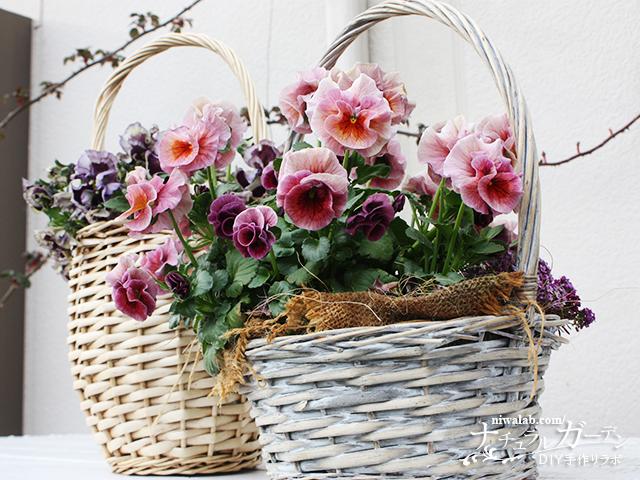 カゴに花を飾る