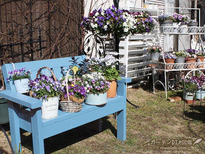 手作りガーデンベンチ